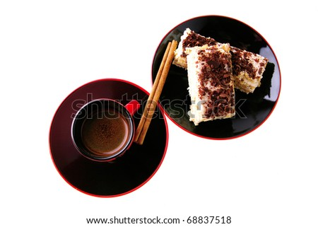 little espresso coffee cup and chocolate cake