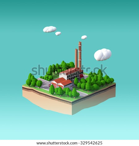 little factory with 2 chimneys surrounded by trees on small island with fluffy stylized clouds isolated on blue background. Infographic template 3 d rendering - stock photo