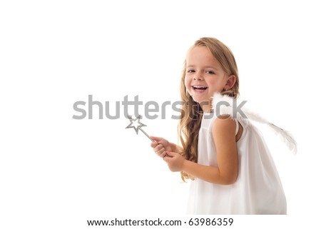 Little fairy angel with magic wand laughing - isolated with copy space - stock photo