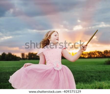 little fairy girl  outdoor - stock photo