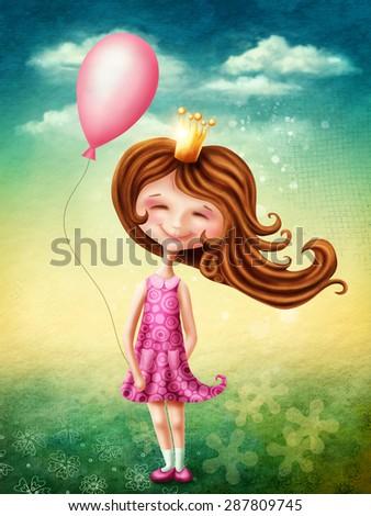 Little fairy girl with pink balloon - stock photo
