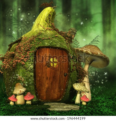 little fairy house with colorful mushrooms in a green forest