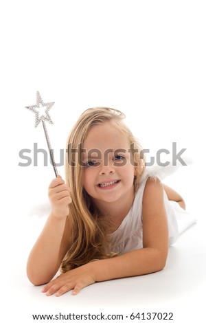 Little fairy with magic wand laying on the floor - isolated - stock photo