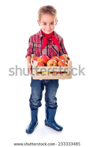 Little farmer boy holding big crate full of ripe apples - stock photo