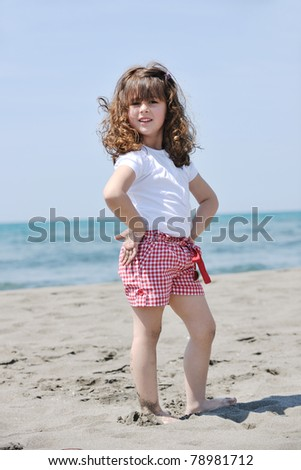 little female  child portrait on beautiful  beach