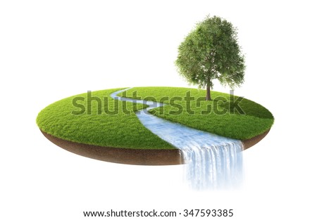 Little fine island. A piece of land in the air. Empty lawn.  - stock photo