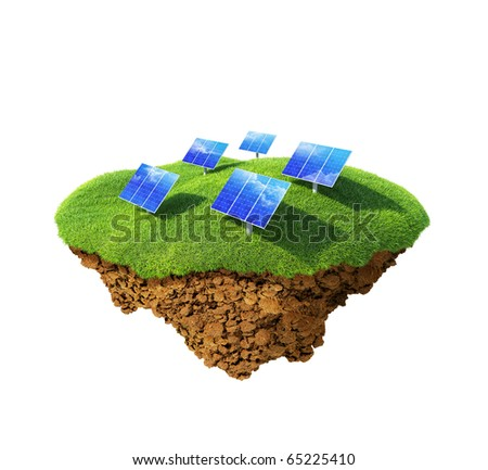 Little fine island / planet. A piece of land in the air. Sun energy station modules on the lawn. Detailed ground in the base. Concept idyllic ecological lifestyle, modern enegry consumption. - stock photo