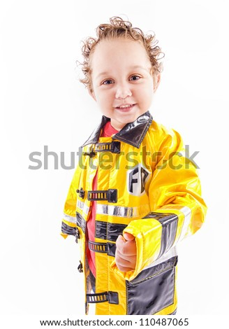 Little firefighter - stock photo