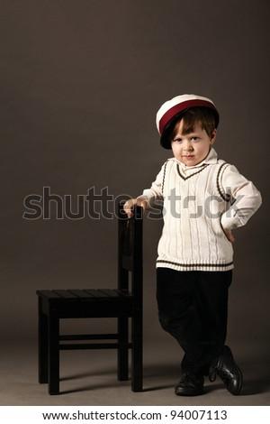 little funny boy retro stylized - stock photo