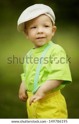 little funny boy summer portrait - stock photo