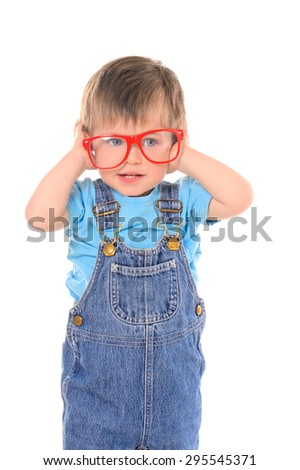 little funny boy with large red glasses isolated on white background