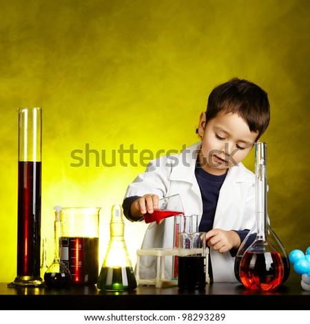 little funny chemist - stock photo