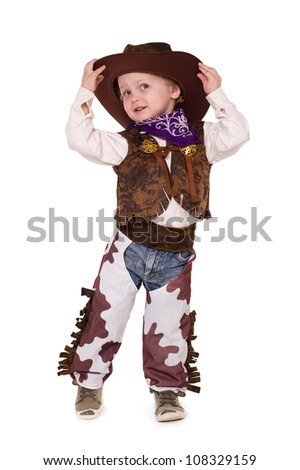 little funny cowboy isolated on white background