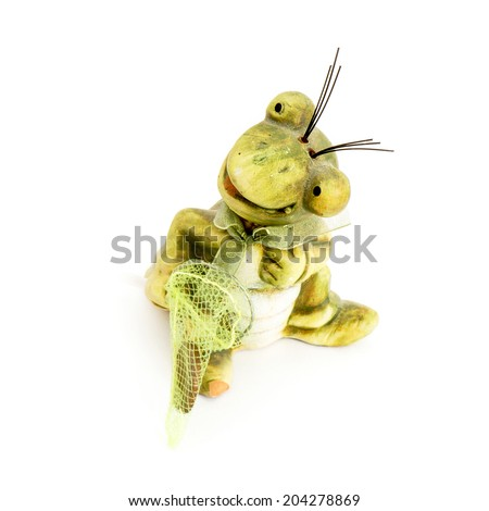 Little funny frog with a seine on a white background. - stock photo