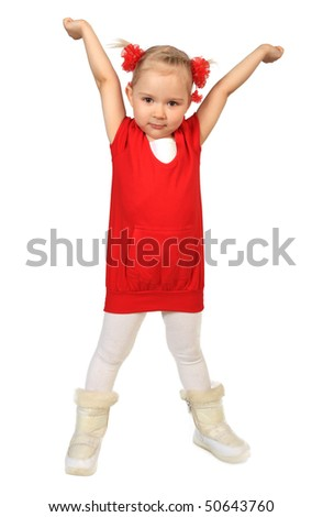 Little funny girl in red dress on white background