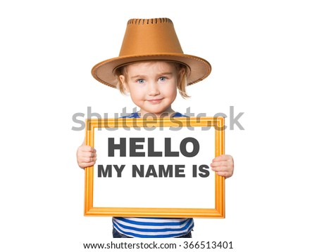 Little Funny girl in striped shirt with blackboard. Text HELLO MY NAME IS.  Isolated on white background. - stock photo