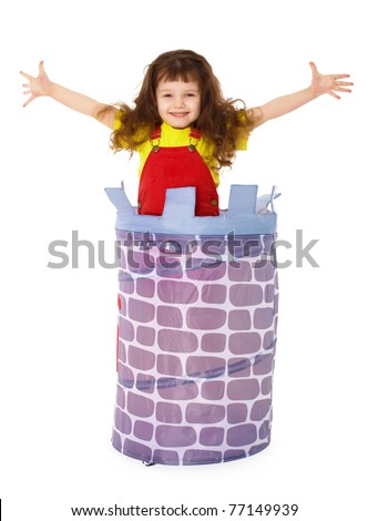 Little funny girl jumped from basket - stock photo