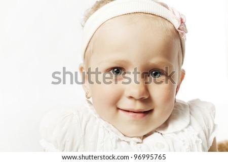 little funny girl portrait - stock photo