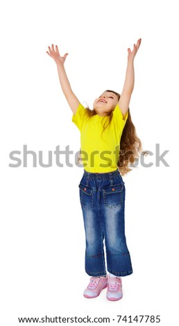 Little funny girl stretched his hands up isolated on white background - stock photo