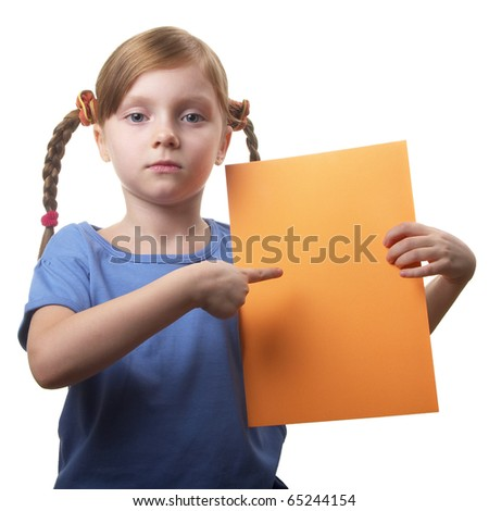 Little funny girl with orange sheet of paper in the hands isolated over white background - stock photo