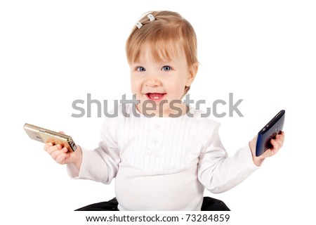 little funny girl with two mobile phones isolated - stock photo