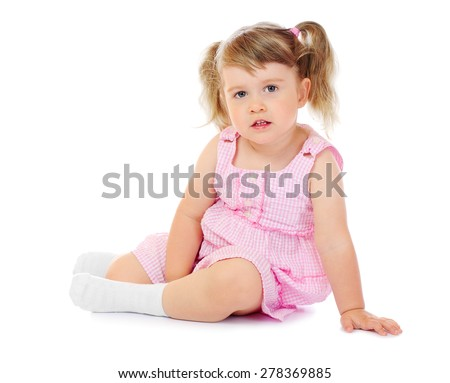Little funny sitting girl isolated
