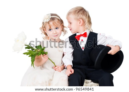 little gentlemen and lady romance isolated on white - stock photo