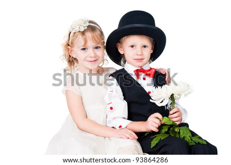 little gentlemen and lady romance isolated on white background - stock photo