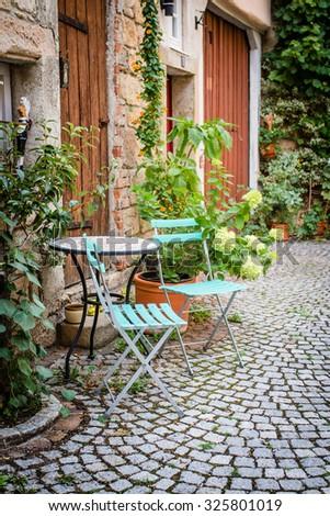 Little german town, backyard details, selective focus - stock photo