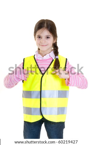 little girl advice to use the reflective clothing - stock photo