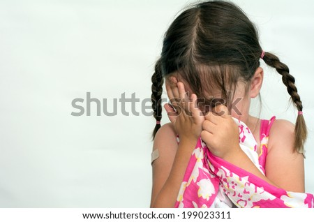 Little girl (age 4) cry,  isolated on white background. concept photo of child care, childhood, education, emotion, behavior,psychology. - stock photo