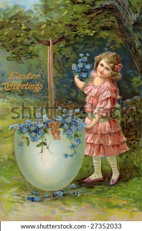 Little girl and a large Easter egg filled with flowers - A Victorian Eastertide greeting card illustration, circa 1914 - stock photo