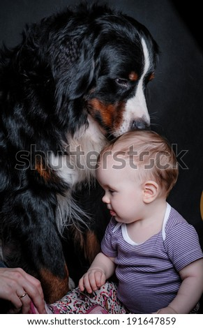 little girl and a puppy - stock photo