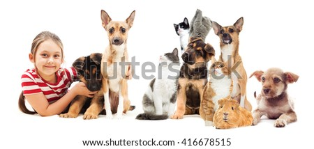 little girl and animals set - stock photo