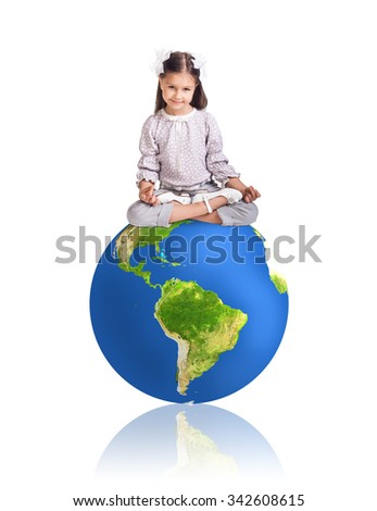 Little girl and big colorful earth isolated oh white. Elements of this image furnished by NASA