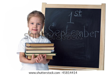 little girl and blackboard on white background