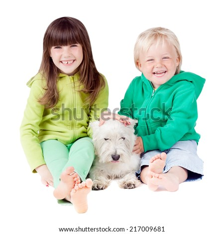 LITTLE GIRL AND BOY ON WHITE BACKGROUND, HAPPY FAMILY, CHILDREN SMILING - stock photo