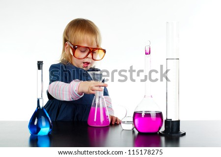 little girl and chemistry - stock photo