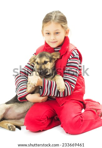 little girl and dog on white background isolated