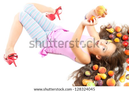 little girl and healthy food isolated on white - stock photo