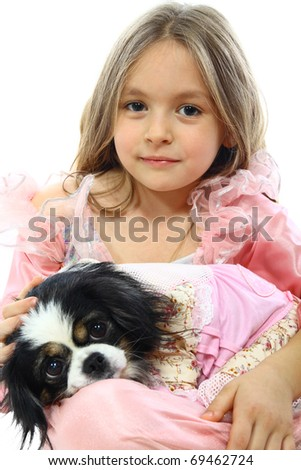 Little Girl And Her Dog. Isolated On White - stock photo