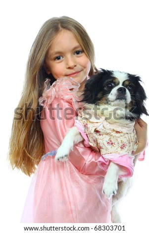 Little Girl And Her Dog. Isolated On White Background - stock photo