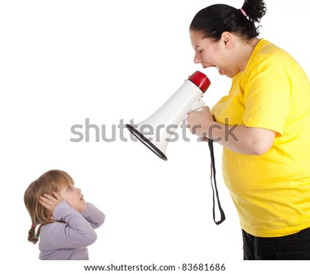 little girl and screaming fat mother with megaphone - stock photo
