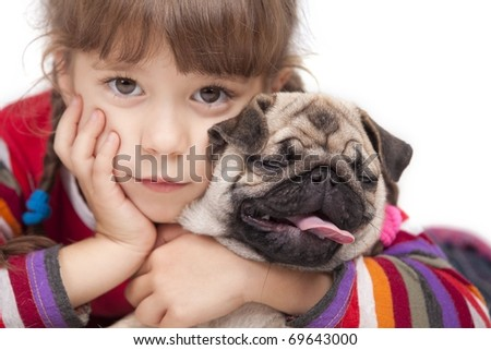 Little girl and the Pug-dog isolated on a white background