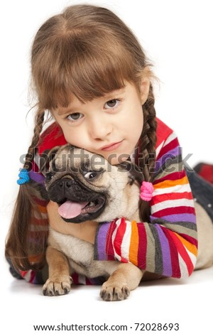 Little girl and the Pug-dog isolated on a white background - stock photo