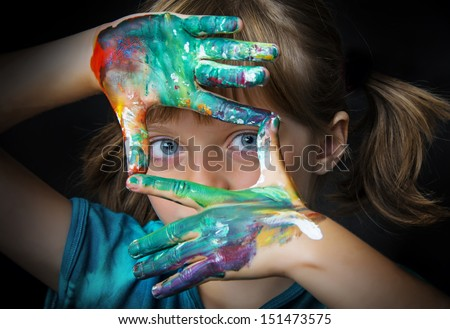 little girl and water colors - portrait - stock photo