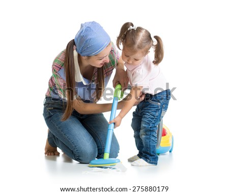 Little girl and woman with vacuum cleaner isolated - stock photo