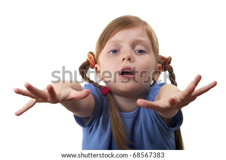Little girl asking a help isolated over white background