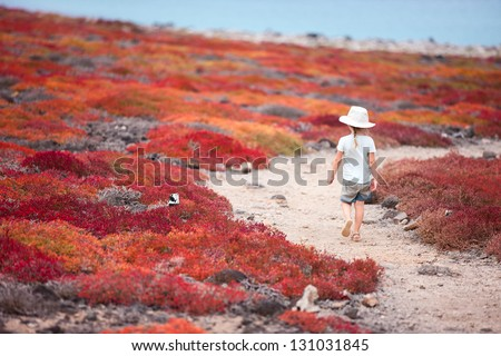 Little girl at scenic terrain on Galapagos South Plaza island - stock photo