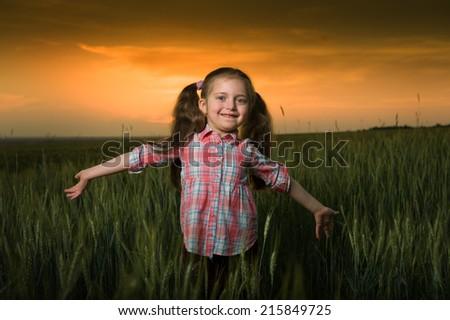 little girl at sunset in wheaten field - stock photo